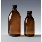 Flacon en verre brun col droit, ouverture étroite 125 ml